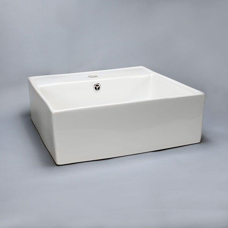 Vasque Carrée à Poser 46x46x15 cm Céramique Blanc Quadra | Vasques ...