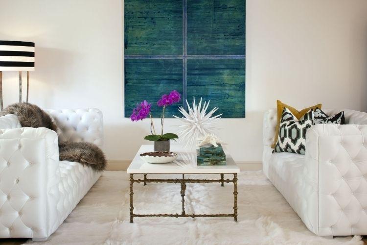 Nach Feng Shui Wohnzimmer Einrichten -Modern-Weiss-Couch-Teppich