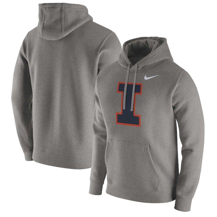 Illinois Fighting Illini Nike Club Fleece Pullover Hoodie Heathered Gray Hoodies Fleece Pullover Chicago Bears Hoodie [ 900 x 900 Pixel ]