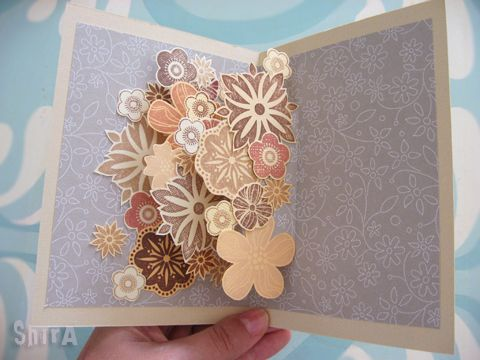 """Flower Explosion (or """"Bloom Boom!"""") pop-up card ~ tutorial by Shira at The Little Green Box. Think about using coordinating stamps and die-cuts."""