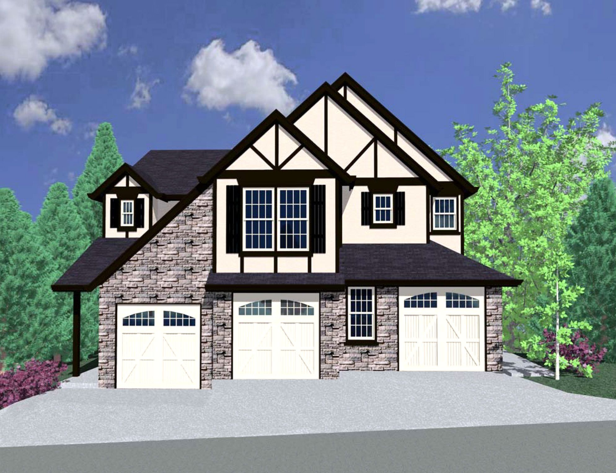 Plan 85056ms tudor triplex house plan house plans for Triplex plans for narrow lots