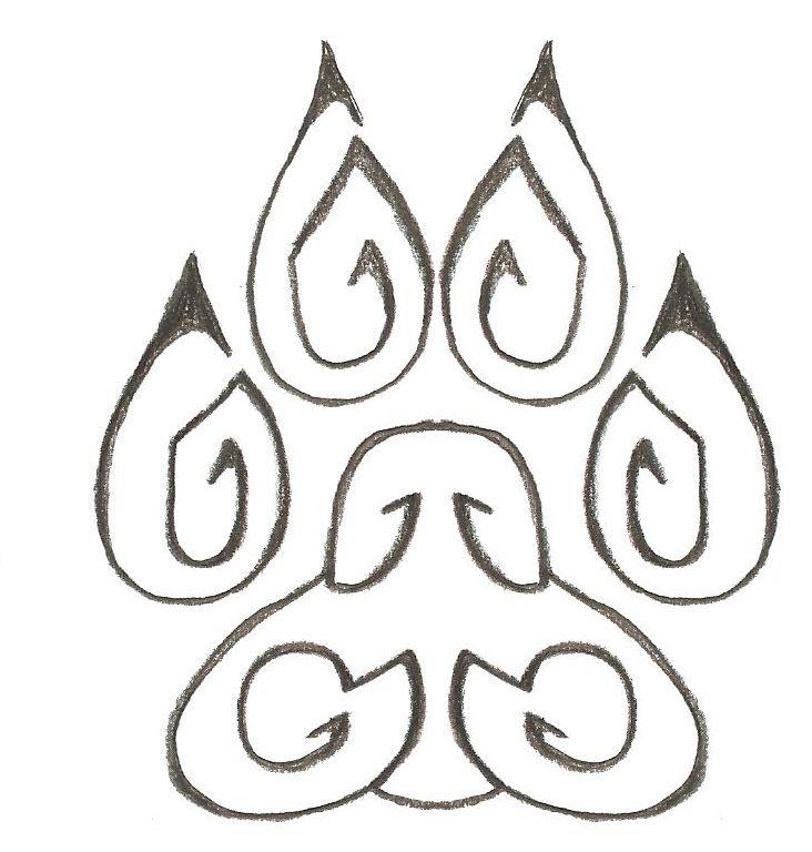 tribal wolf paw drawings
