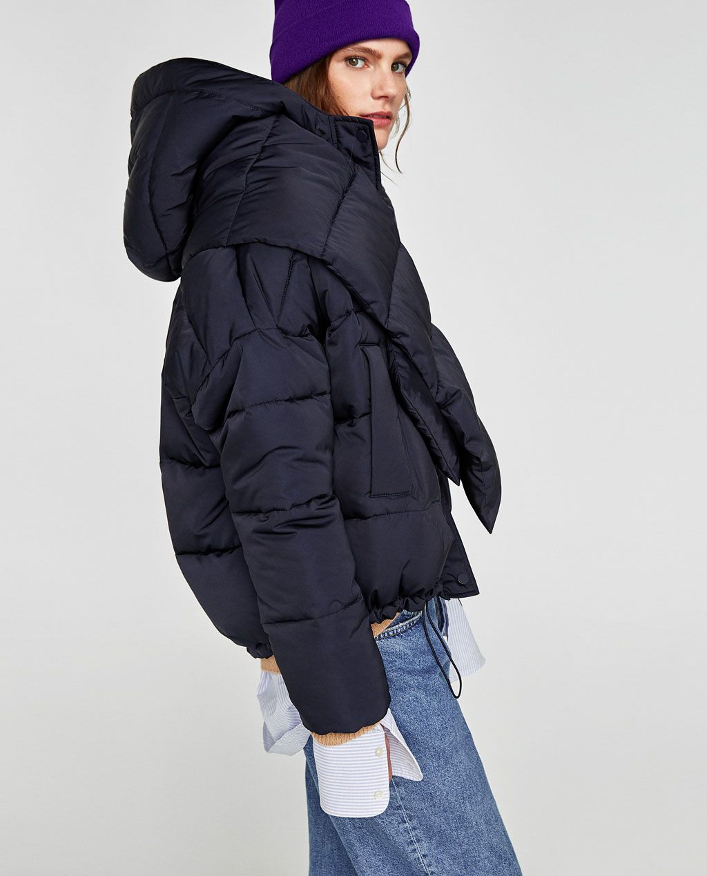 Quilted Jacket With Scarf New In Woman Zara United States Puffer Coat With Hood Down Puffer Coat Quilted Jacket [ 1269 x 1024 Pixel ]