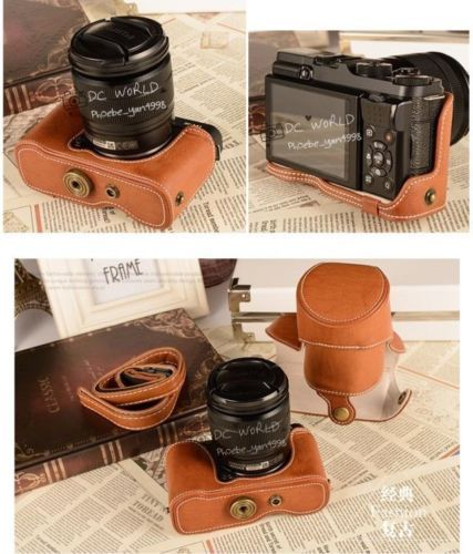 Handmade Genuine real Leather Full Camera Case bag cover for FUJIFILM X-M1 XM1 Brown Bottom opening Version