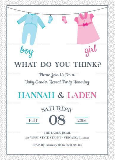 Gender Reveal Baby Shower Invitation Template Invitation Card