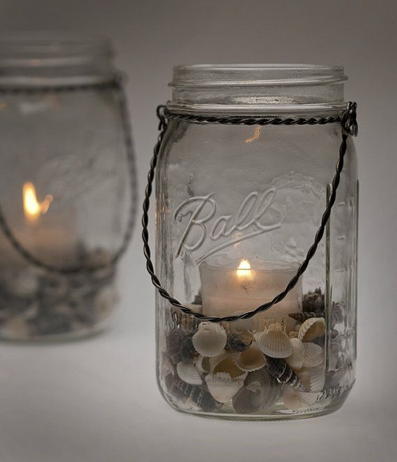 Seashells Hanging Light Mason Jar Lamp Candle Cute Idea To Put Rocks In Them Beach Mason Jars Mason Jar Lamp Mason Jars