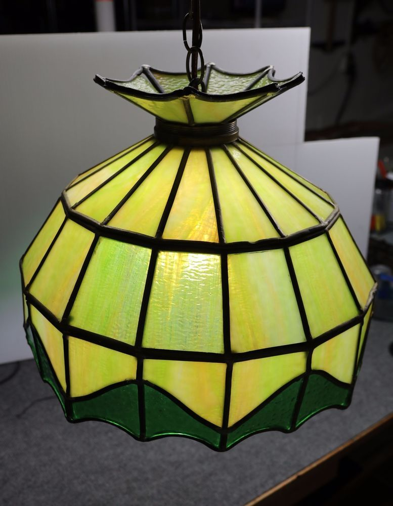 Hanging Tiffany Style Stained Glass Green Shade Lamp Bar Pool Table Vintage Lamp Bar Pool Table Tiffany Style