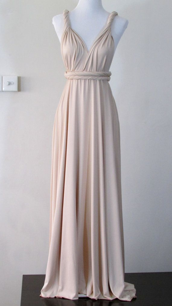 Summer Maxi Dress Convertible Dress In Champagne By Herbridalparty Multi Way Dress Infinity Dress Convertible Maxi Dress