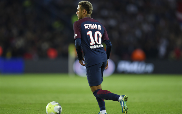 Download wallpapers 4k, Neymar Jr, match, PSG, soccer