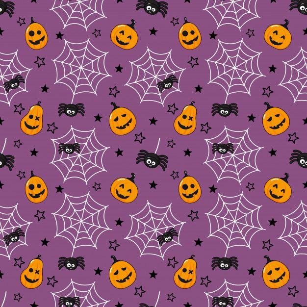 Seamless Pattern Cartoon Happy Halloween. Spider, Cobweb And Pumpkin Isolated On Purple.