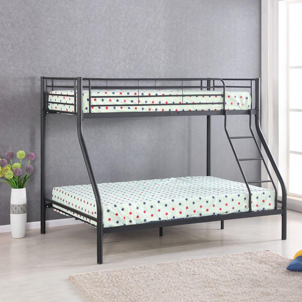Black Ikayaa Single Over Double Metal Bunk Bed Frame With Ladder Lovdock Com Bunk Bed Designs Bunk Beds Kids