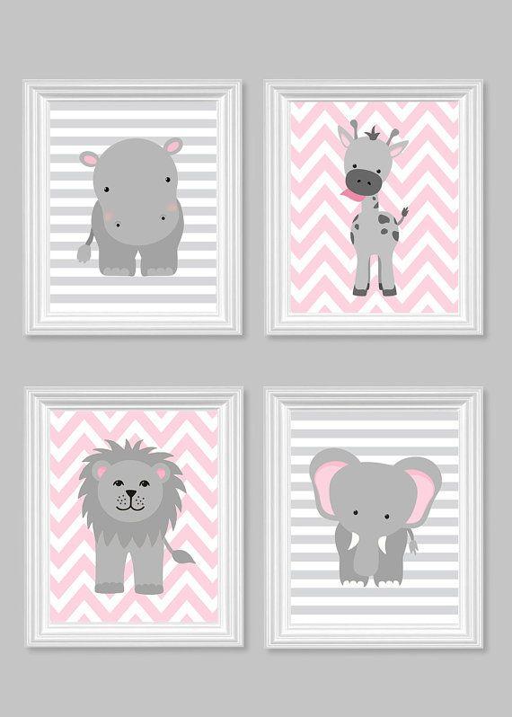 Decor de chambre de la jeune fille, gris et rose, fille Zoo ...