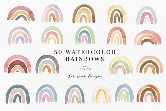 Pastel Rainbow Clipart Rainbow Clipart Rainbow Watercolor Etsy Clip Art