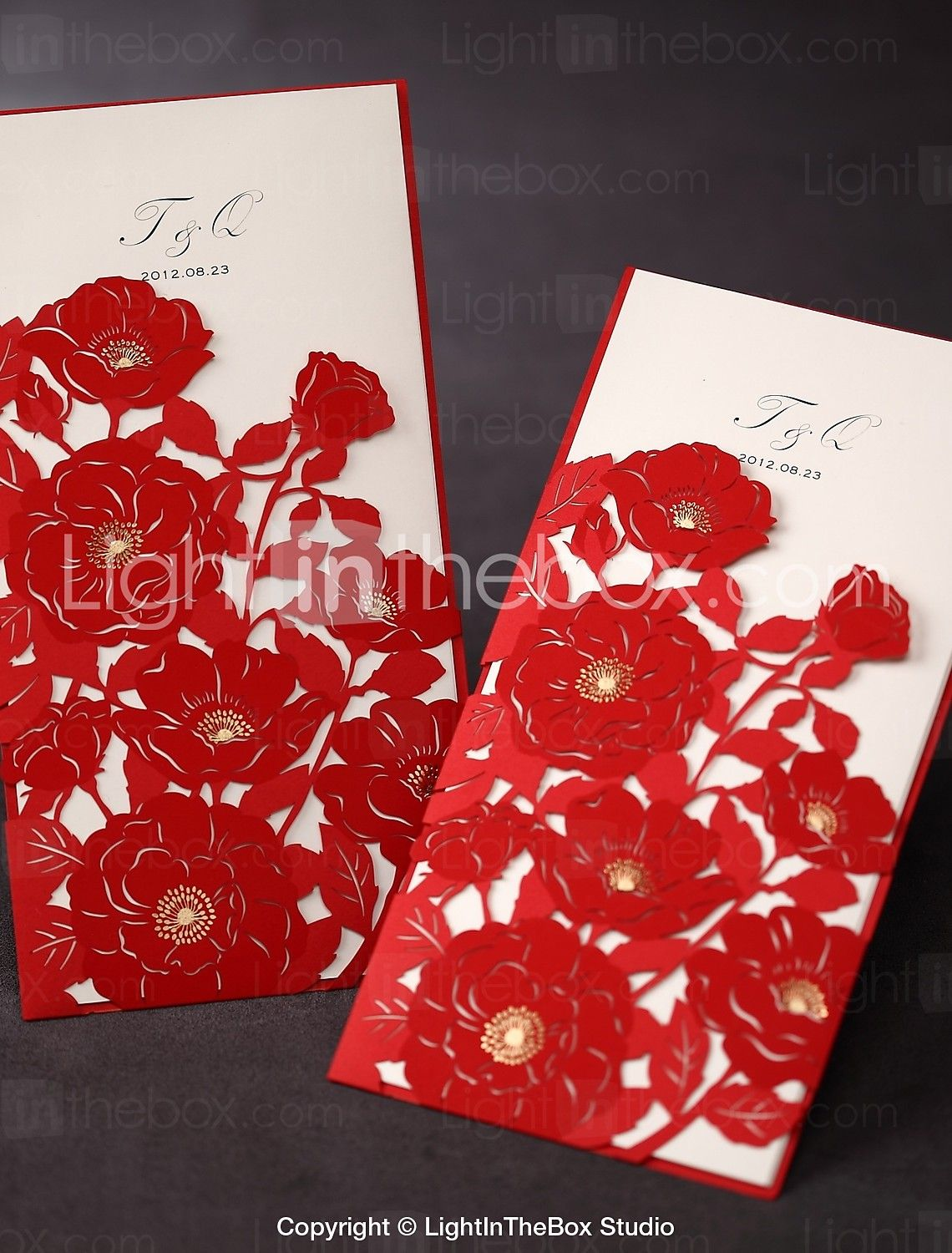 Tri-fold Wedding Invitation With Red Poppies Cut-out Sleeve (Set of ...