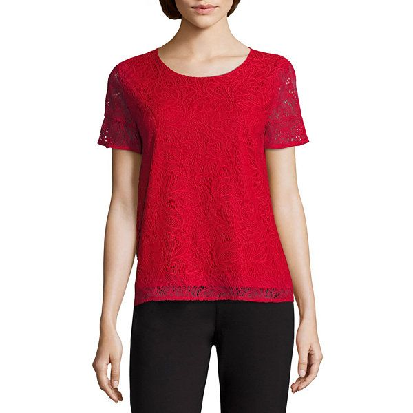 a5be34b9b60dd Liz Claiborne Short Ruffle Sleeve Crew Neck Lace T-Shirt - JCPenney ...
