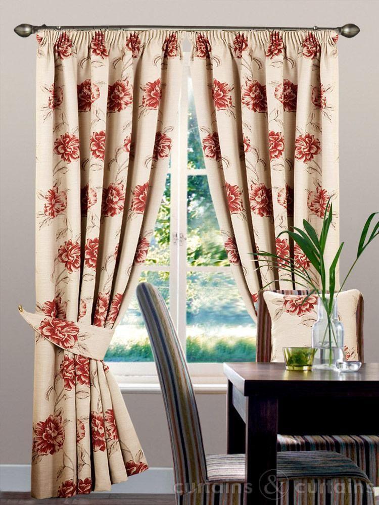 Vintage Grace Red U0026 Cream Floral Pencil Pleat Curtain   Curtains UK