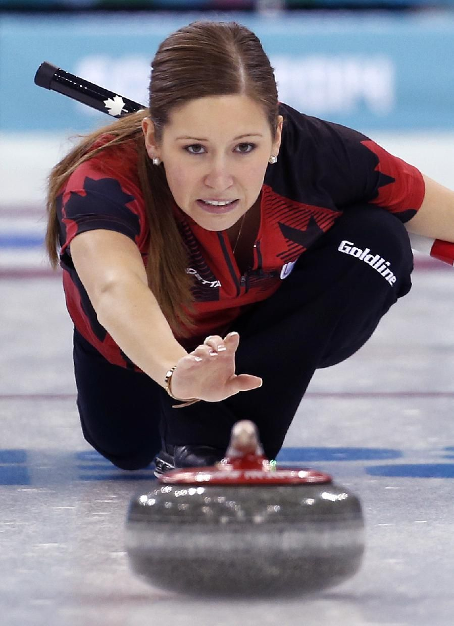 DAY 9 Kaitlyn Lawes of Canada competes during the Curling