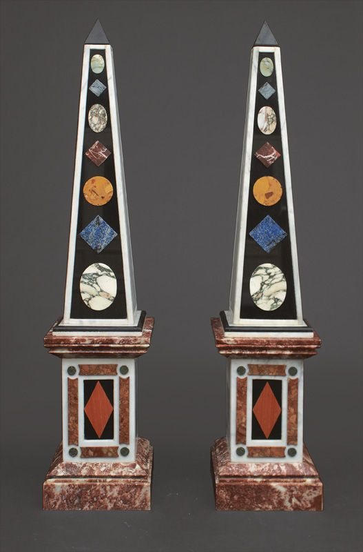 Exceptional Pair of Obelisks made of Multi-Coloured  Marble in pietra dura style. H. cast. 187.5 cm, base 40 x 40 cm.