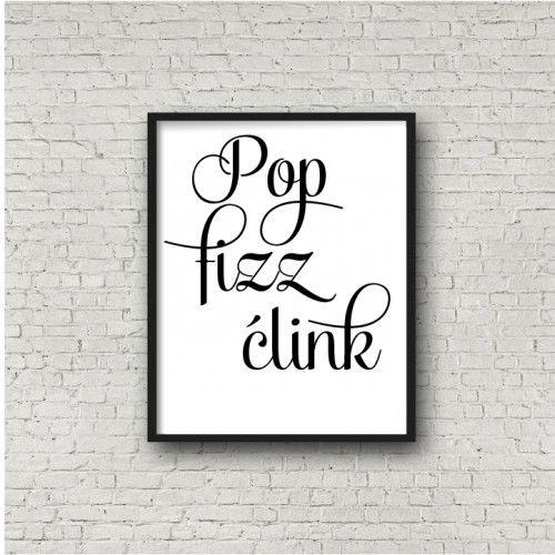 Pop Fizz Clink Sign PRINTABLE Artdining Room Artkitchen Wall Decor