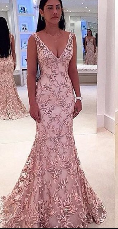 Sexy V-Neck Sleeveless Evening Dress Lace Mermaid Floor Length prom ...