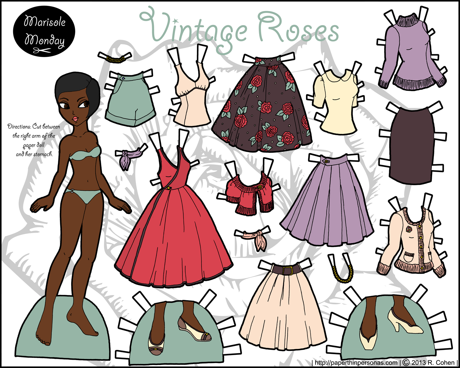 marisole monday vintage roses in pinks and browns and purples dolls paper dolls paper. Black Bedroom Furniture Sets. Home Design Ideas