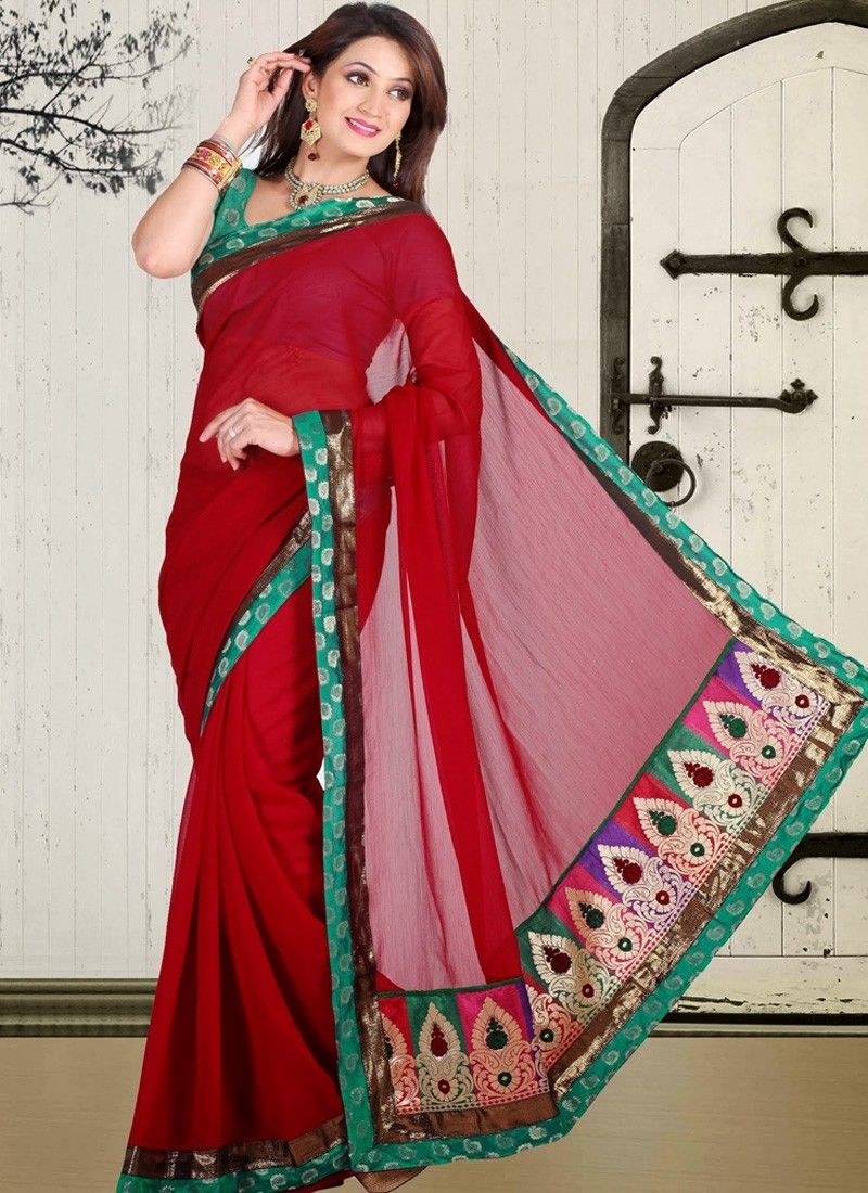 #Red Faux Chiffon #Designer Saree