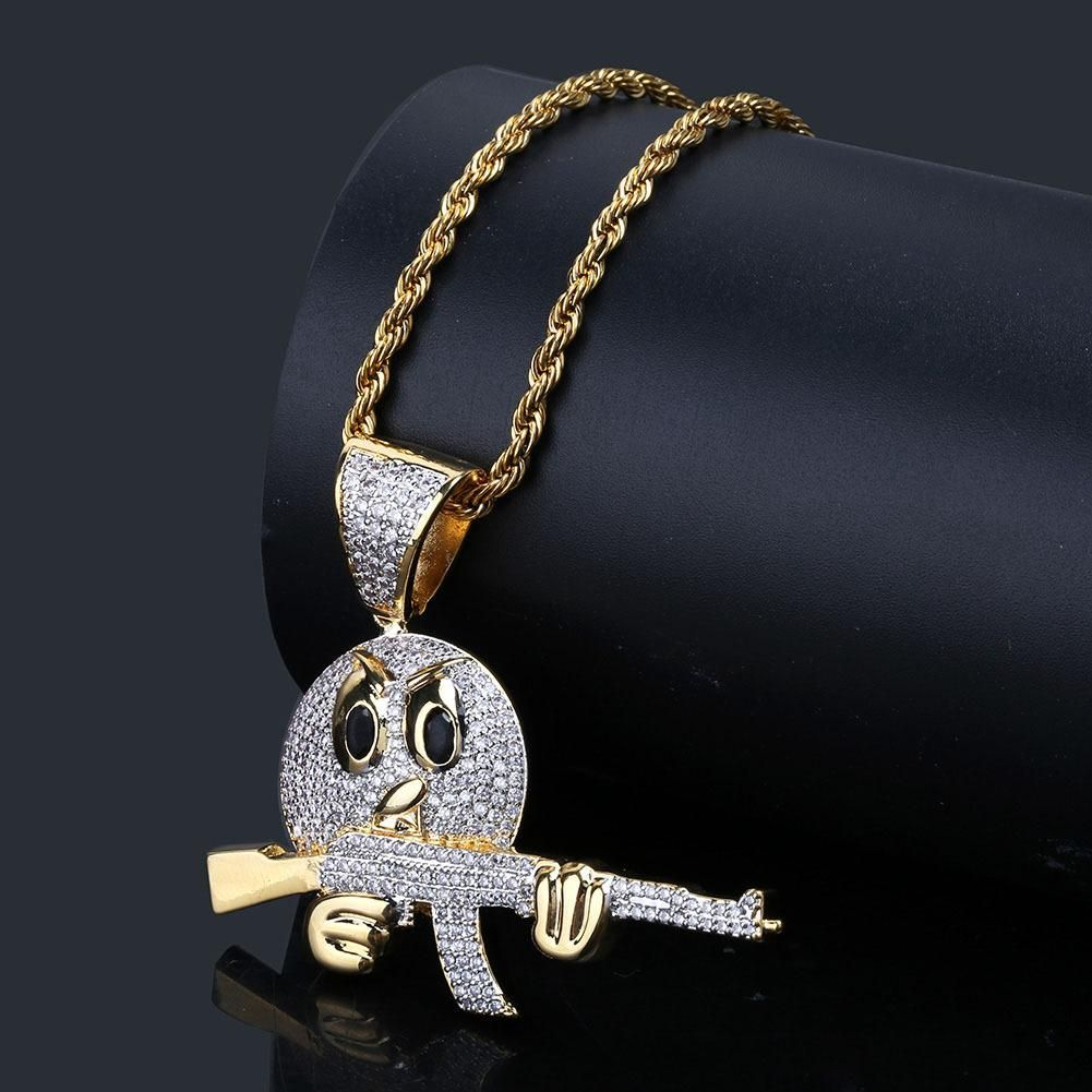Emoji cartoon expression grip gun pendant set zircon hip hop two