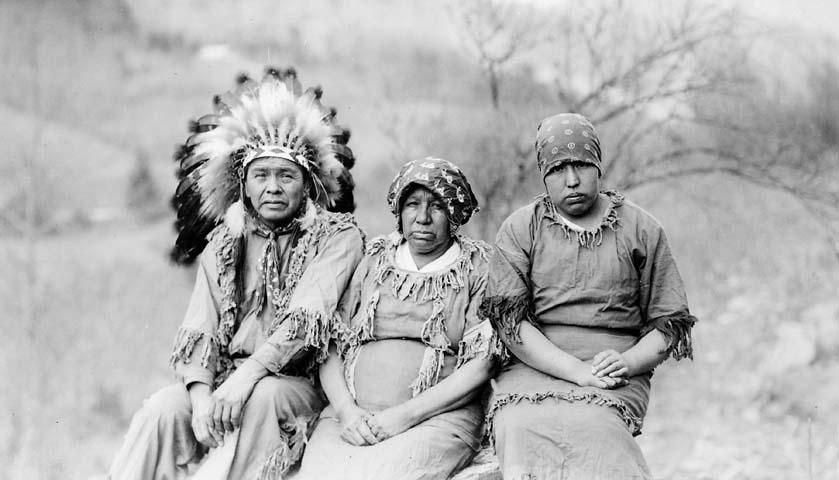 The Trail of Tears and the Roundup of N.C. Cherokees June 12, 1838.  [photo: A Cherokee chief with his wife and daughter, circa 1920-1940. Image from the N.C. Museum of History]