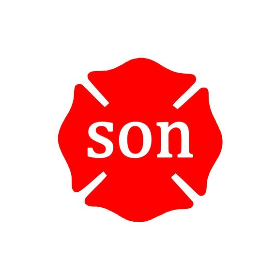 Son Firefighter Fire Dept Maltese Cross Vinyl Decal Fathers