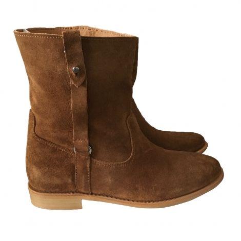 Femme Beige   camel Daim Mellow Yellow 4968515 Bottines   low boots plates ea6205467eef