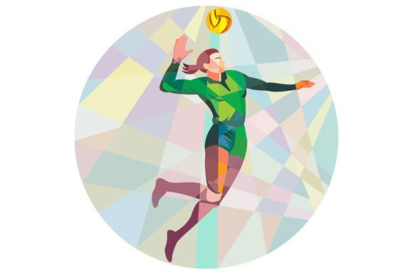 Volleyball Player Spiking Ball Jumpi - Illustrations - 1
