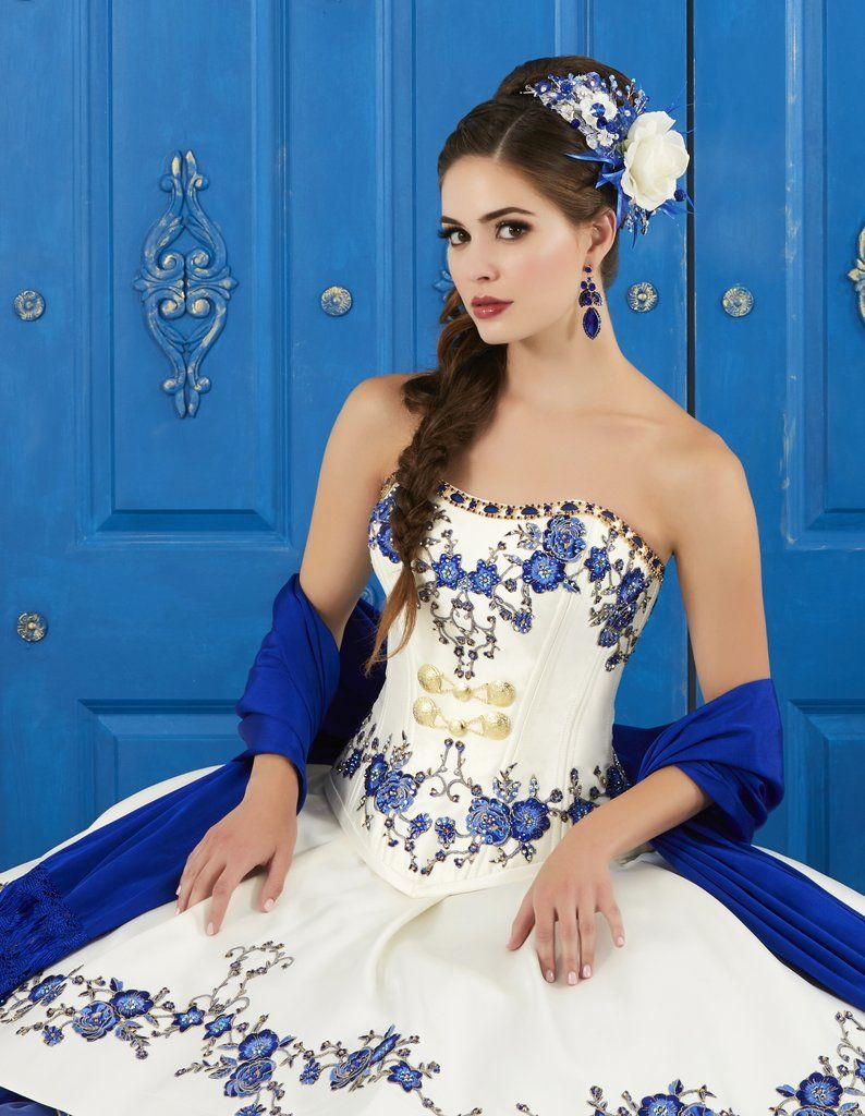 94f11a6ff7c Ivory Blue Strapless Floral Charro Dress by House of Wu LA Glitter 24042-LA  Glitter by House of Wu-ABC Fashion