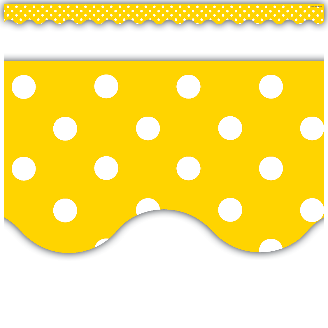 Yellow Polka Dots Scalloped Border Trim | Bulletin board and ...