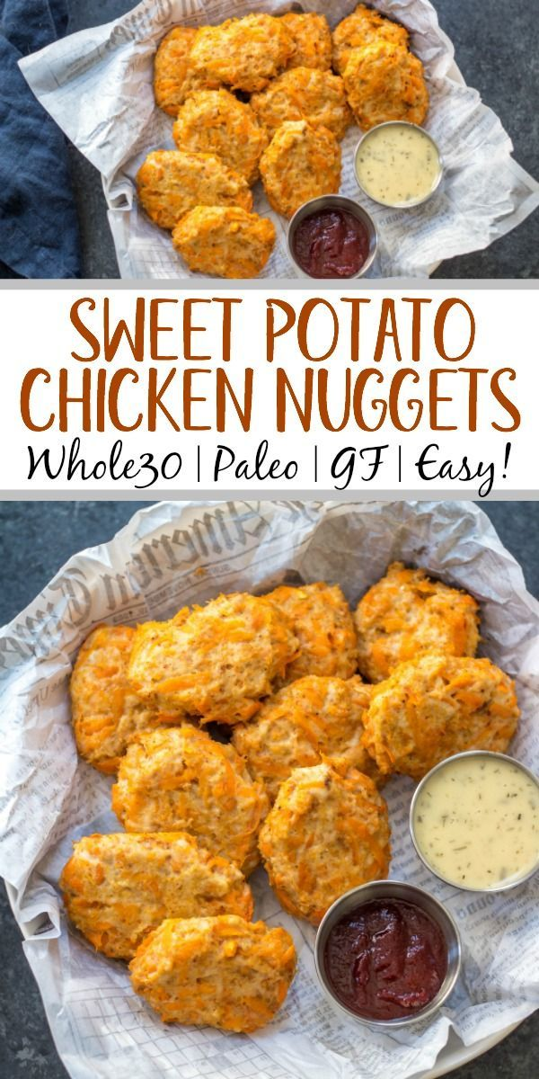 Sweet Potato Chicken Nuggets: Whole30, Paleo, Gluten-Free Poppers - Whole Kitchen Sink #sweetpotatorecipes