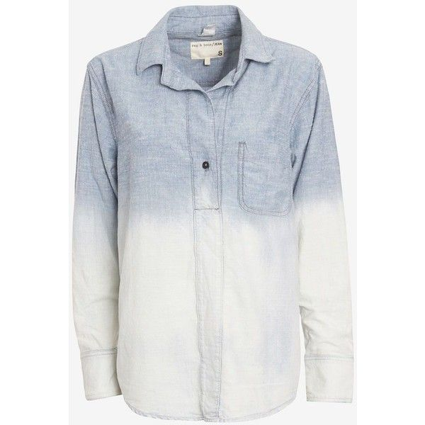 4ca084ca5fa rag   bone JEAN Leeds Ombre Denim Shirt ( 89) ❤ liked on Polyvore featuring  tops