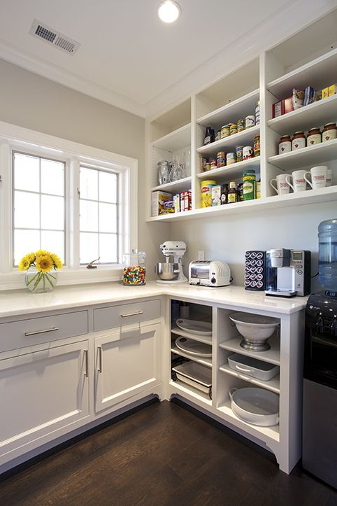 Wonderful Chic Kitchen Pantry Features White Shaker Cabinets Fitted With Open Shelving .