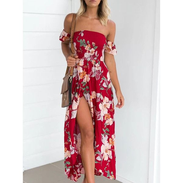d80bff5754e Red Off Shoulder Floral Print Strappy Back Wrap Maxi Dress ( 37) ❤ liked on  Polyvore featuring dresses