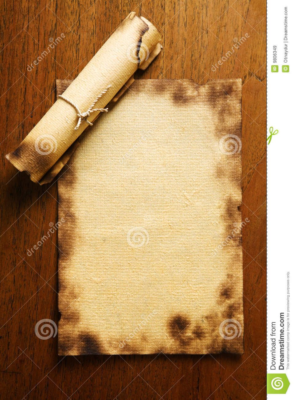 old blank paper and scroll on wooden table royalty free stock, Powerpoint templates
