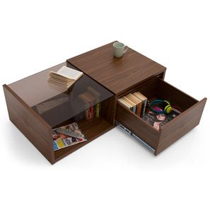Wollman Storage Coffee Table Walnut Finish Half Drawer Configuration