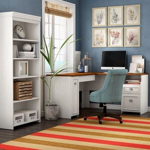 oakridge l shaped executive desk with bookcase home on beautiful home desk organization ideas make comfortable what it will do for you id=34736