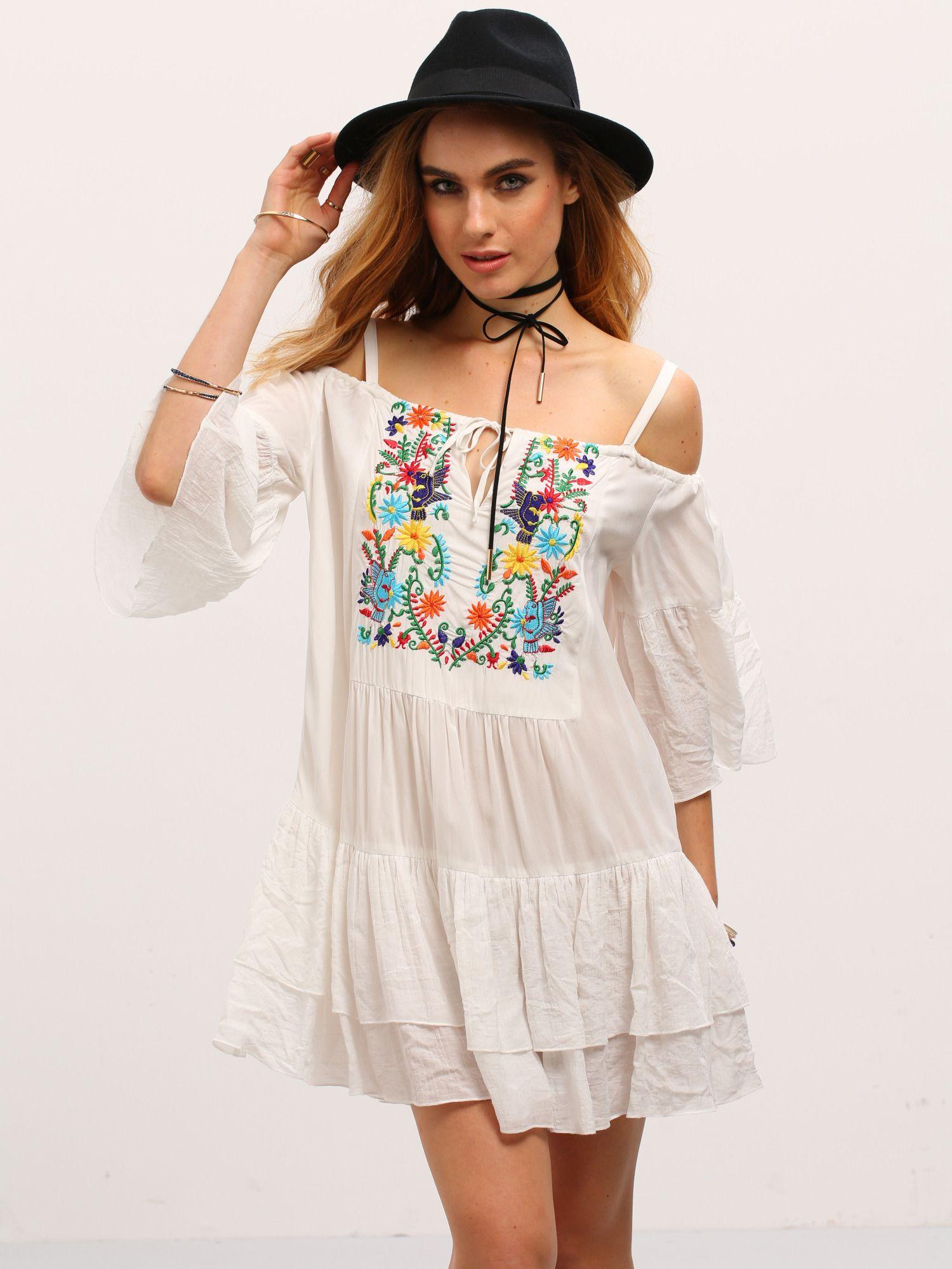 Shop Begin Cold Shoulder Embroidered Ruffle Dress online. SheIn offers Begin Cold Shoulder Embroidered Ruffle Dress & more to fit your fashionable needs.