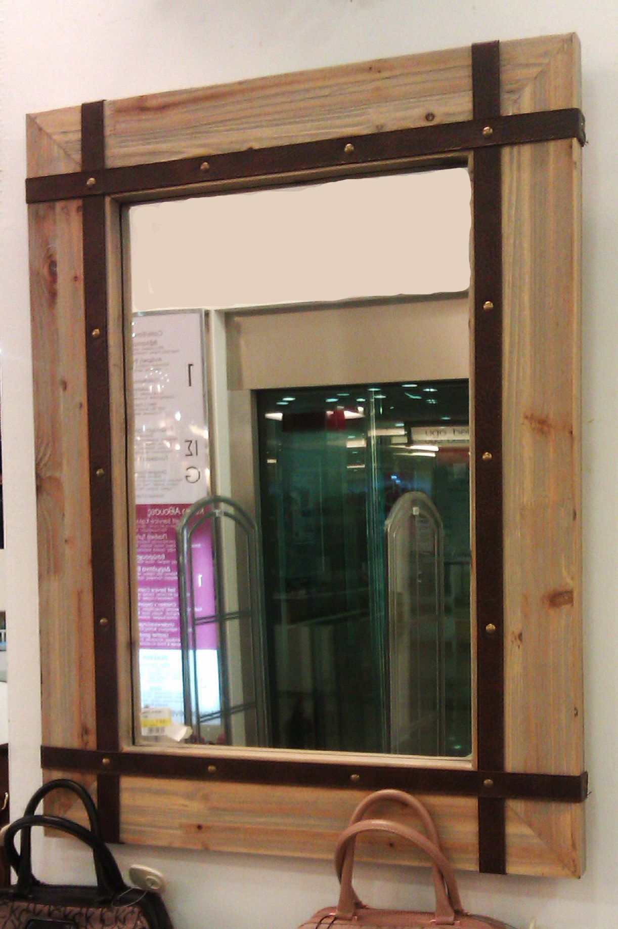 Great idea make a wooden frame mirror and adjust leather for Cool framed mirrors