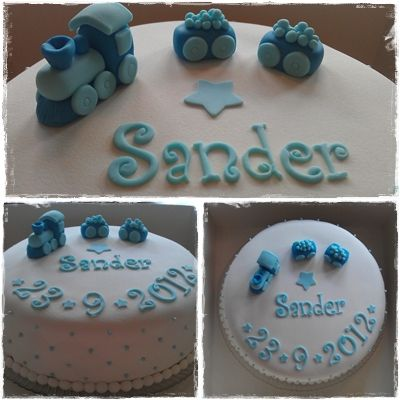Christening baby boy train cake