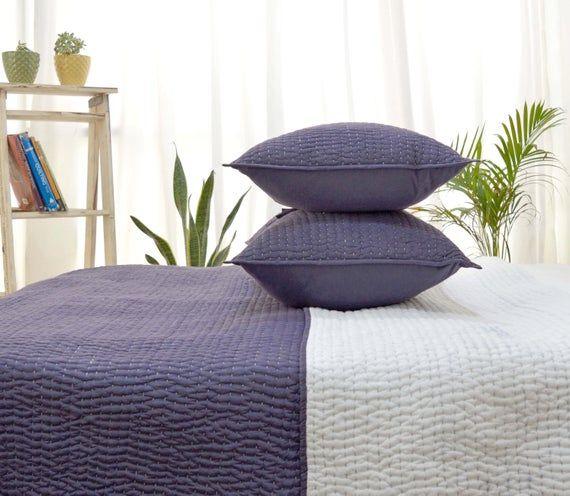 Lavender quilt set, handquilted, kantha, cotton, purple colour, 1 quilt with 2 pillows