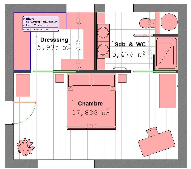 plan suite parentale avec salle de bain et dressing 4 plan suite parentale home d co. Black Bedroom Furniture Sets. Home Design Ideas
