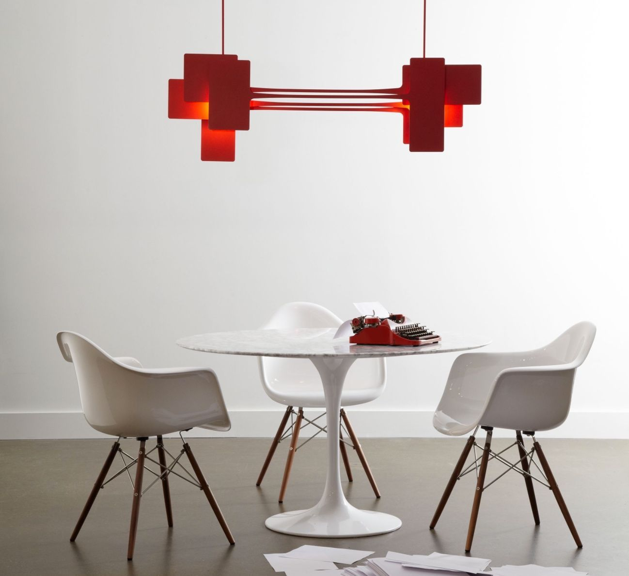 Bold and beautiful this red pendant wants to heat up your dining