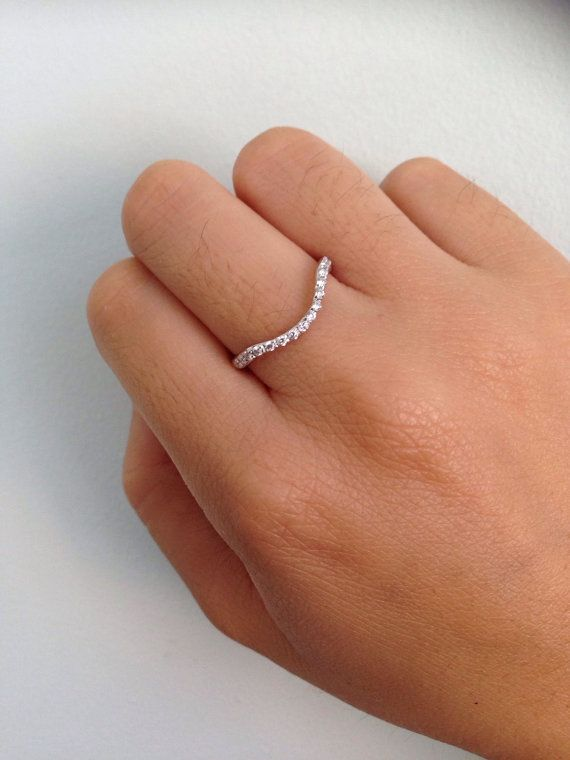 Diamond Curved Wedding Band Jewelry She Ll Love Wavy Etsy Curved Wedding Band Diamond Wedding Bands White Gold Pave Ring