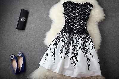 Fashion Runway Sundress Sleeveless Party Cocktail White Black Plus size Large