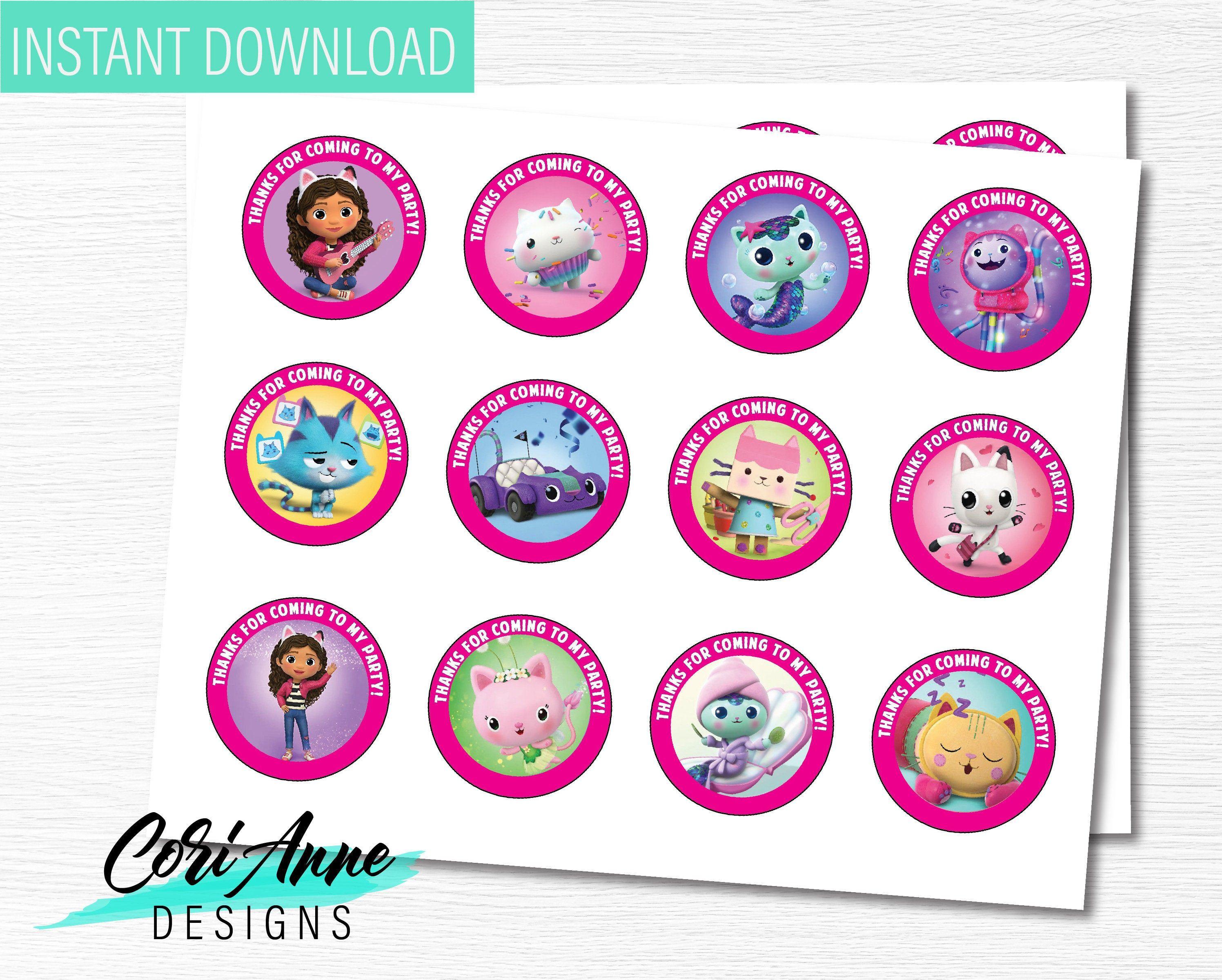 Printable Gabby S Dollhouse Birthday Circle Favor Tags Etsy In 2021 Doll House Favor Tags Girls 3rd Birthday