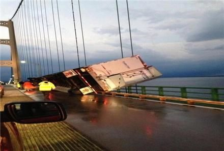 Truck tips over on the Mighty Mac!
